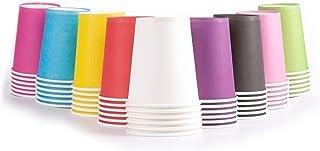 Ghenhon Party Disposable Cups, Paper Cups For ,Weddding & Party Cups 8oz (Multicolor 100pcs)