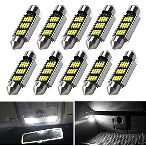 41mm 42mm Festoon Led Bulbs ,Viesyled 10 Pcs 12 SMD 4041 Chipset Canbus No Error Led Bulbs 211 212-2 Super Bright Interior Dome Lights Map Light, Color White
