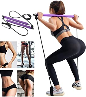 YCKJDM Portable Pilates Bar Kit with Resistance Band, Home Yoga Exercise Pilates Bar with Foot Loop Yoga Pilates Stick Tot...