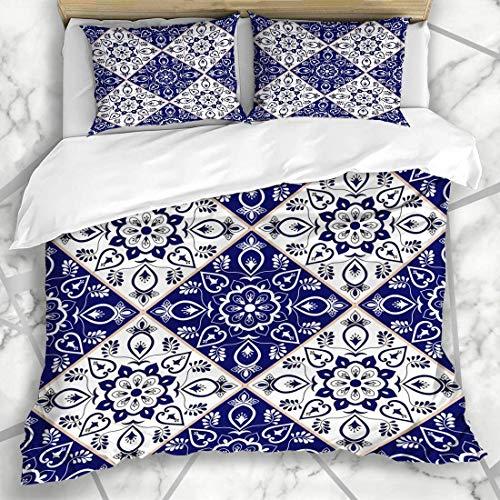 877 ZAEVO Bettbezug-Sets Portugiesisch Italienisch Delfter Niederländisch Muster Blau Porzellan Vintage Mosaik Portugal Sizilien Mexiko Mikrofaser Bettwäsche mit 2 Kissenbezügen