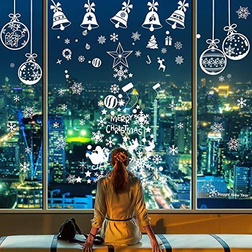LessMo 256 STK. Schneeflocken, Fensterbilder, Fensterdeko für Weihnachts- und Winter- Dekoration, hochwertigem Statisch Haftende PVC-Material, Kein Kleber (8 Blätter)