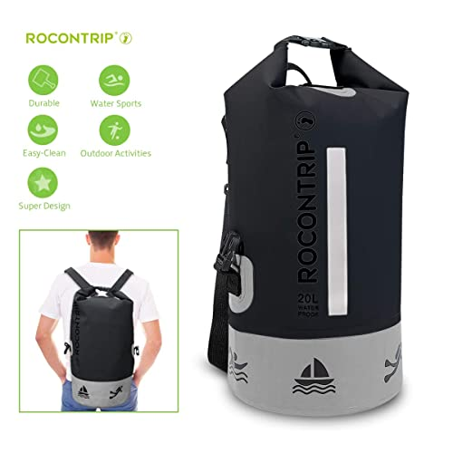 434103320c ROCONTRIP Dry Bag Sack Ultra Durable PVC Roll Top Waterproof Dry Storage Bag  Backpack for Kayaking