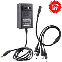 HISVISION Security Camera Power Supply Adapter 12V 2.5A 100V-240V AC to DC with 4-Way Power Splitter Cable -Fits CCTV DVR NVR Surveillance System