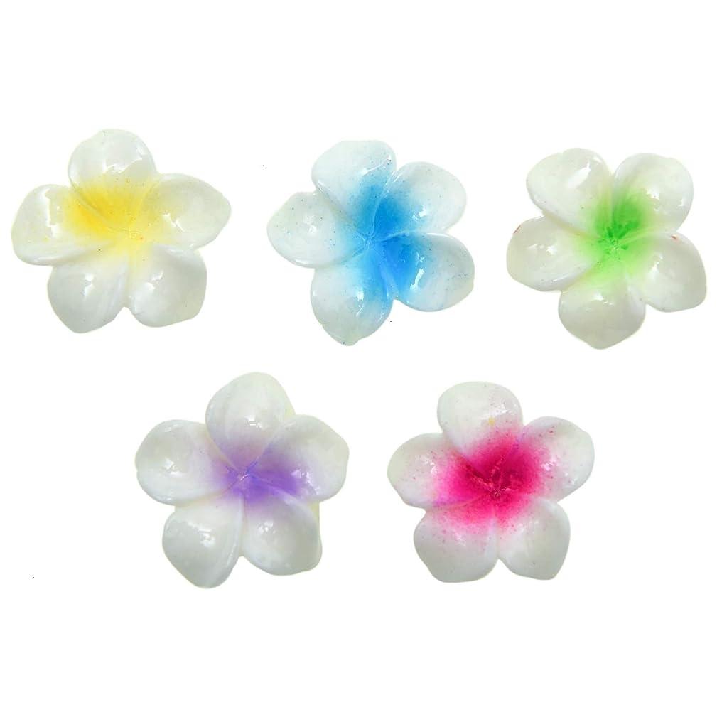 Monrocco 25Pcs Resin Flowers, 17mm Resin Plumeria Rubra Flower FlatBacks Cabochons for Jewelry Making