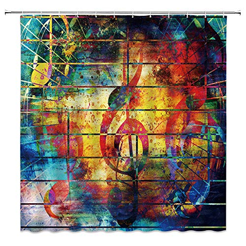Music Note Shower Curtain Colorful Graffiti Creative Plank Stripes Watercolor Art Bathroom Curtains Decor Polyester Fabric Quick Drying 70x70 Inches Include Hooks