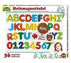 Lena 65822 - Holz Magnettafel Set, mit magnetischer Tafel, ca. 44 x 38 cm, 26 Magnetbuchstaben und 10 Magnetzahlen, Holzmagnettafel für Kinder ab 3 Jahre, Lernset mit Buchstaben mit Anlautbildern