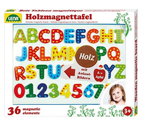 Lena 65822 - Holz Magnettafel Set, mit magnetischer Tafel ca. 44 x 38 cm, 26 Magnetbuchstaben und 10 Magnetzahlen, Holzmagnettafel für Kinder ab 3 Jahre, Kindertafel Lernset zum Schreiben und Rechnen, mehrfarbig