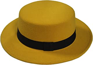 Women's Brim Fedora Wool Flat Top Hat Church Derby Bowknot Cap