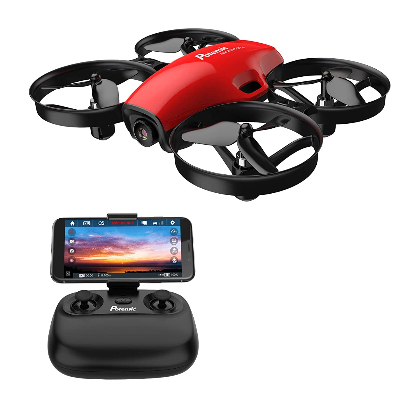 Potensic FPV Drone with Camera WiFi, RC Quadcopter 2.4G 6 Axis-Remote Control with Altitude Hold, Headless, Route Setting, Speed Mode, One-Key Take-Off/Landing,Detachable Battery A30W -Red