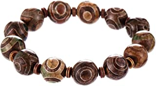 Prime Fengshui Protective Round Grey Tibetan Dzi Beads Bracelet Amulet Bangle Attract Positive Energy and Good Luck