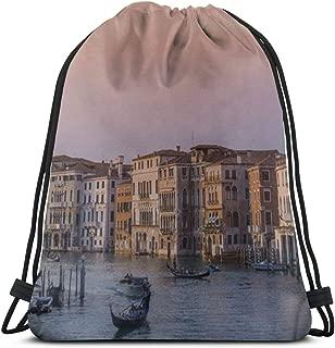 Drawstring Backpack Bag, Cinch Sack, Sport Gym Bag For Women Or Men, Venice Scenery