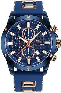 Men Business Watch, MINI FOCUS Quartz Chronograph Watches (Blue, Three Eyes, Sport) Silicone Band Strap Fashion Wristwatch for Men Gift