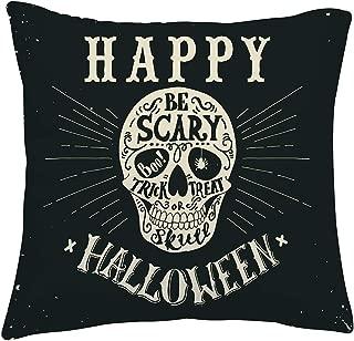 TUONROAD Trick or Treat Throw Pillowcase+Insert Novelty Happy Halloween Skull Be Scary Spider Printed Pillowcase Insert Original Black Soft Velvet Zipper Hidden Fluffy Cushion for Theme Party Decor