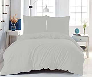 Pizuna 800 Thread Count Queen-Duvet-Cover-Set Gray, 100% Long Staple Cotton Duvet Set Smooth Sateen Weave Queen Size Beddi...