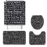 ZHEBEI Set de baño de Feliz Navidad con cubierta para asiento de inodoro cortina de ducha y alfombra cubierta de texto impreso alfombra de baño decoración de vacaciones