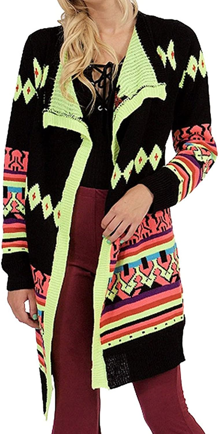 Neon Multi colord Long Sleeve Open Front Long Cardigan Sweater