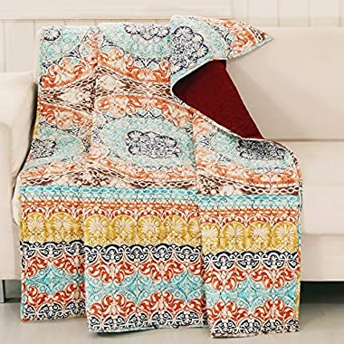 Finely Stitched Quilt Throw Lap Blanket Bohemian Boho Chic Geometric Medallion Mandala Design Blue Yellow Orange Neutral Luxury Reversible Bedding - Includes Bed Sheet Straps