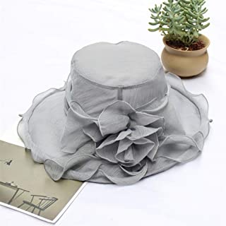 SHENTIANWEI 2019 European and American Big New Monochrome Fence Shamao Female Summer Sun hat Foldable Travel Beach Sun hat (Color : Grey, Size : Adjustable)