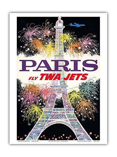 Paris, France - Fly TWA Jets - Trans World Airlines - Fireworks at Eiffel Tower - Vintage Airline Travel Poster by David Klein c.1960s - Master Art Print 9in x 12in