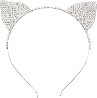 Rosemarie Collections Women's Halloween Costume Crystal Cat Ears Headband