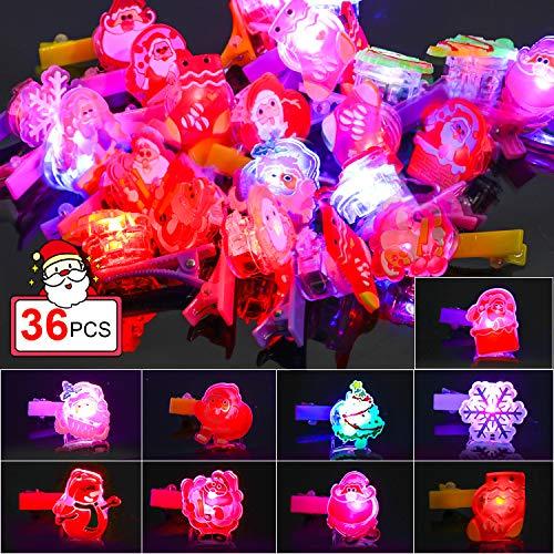 Qpout LED se Ilumina con Brillantes Clips de Pelo de Navidad, árbol de Navidad Santa Claus Reno Copo de Nieve...