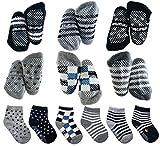 Calcetines de agarre para niños pequeños, antideslizantes / antideslizantes para bebés y niños recién nacidos (negro, blanco, gris, 6 pares, 1-3 años)
