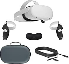 2020 Oculus Quest 2 All-in-One VR Headset, 256GB SSD, Óculos Compitble, Áudio 3D, Mytrix Maleta, Link Cable Oculus (10 pé...