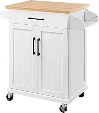 YAHEETECH Home Kitchen Bar & Serving Cart with Spice Rack and Utility Storage Drawer, Trolley Cart with Towel Rack and St