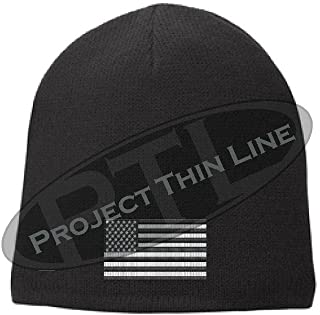 Project Thin Line Black Tactical Subdued American Flag Skull Cap