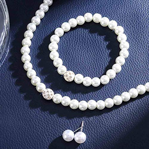 Brishow Wedding Pearl Necklace Earrings Bracelet Jewelry Set Silver Crystal Pearl Chain Bridal Fit for Women and Girls