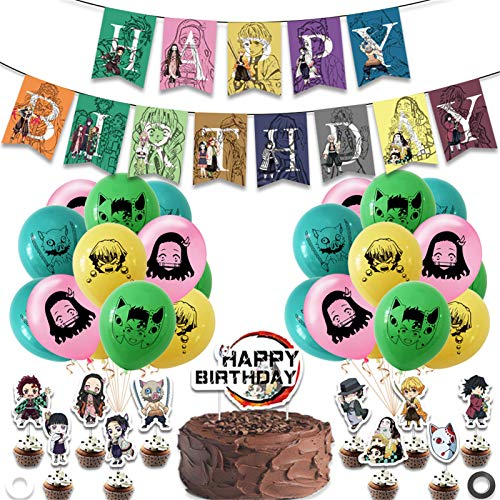 38Pcs Demon Slayer Birthday Party Supplies,Including Demon Slayer Banner,Cake Topper,Cupcake Topper,Demon Slayer Ghost Squad Latex Balloon for kid's Boy Anime Party Decorations