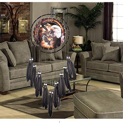 Aigle Peinture À l'huile Noir Plume Dream Catcherpure Tissage À La Mainmeubles Décoration Artisanat,B,1Psc