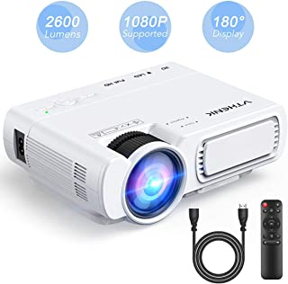 Home Cinema Led Projector - VTHENK Mini Video Projector 2600 Lux 1080P Full HD with 180