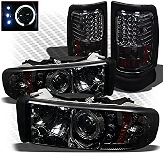 Xtune for 1994-2001 Dodge Ram 1500, 1994-2002 Ram 2500/3500 Smoked Halo Projector Headlights + LED Tail Lights 1997 1998 1999
