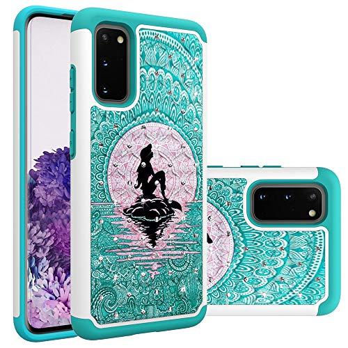 Samsung Galaxy S20 Case, Galaxy S20 Case for Girls Women, Mermaid with Moon Pattern Heavy Duty Shockproof Studded Rhinestone Crystal Bling Hybrid Case Silicone Armor for Samsung Galaxy S20 (6.2 inch)