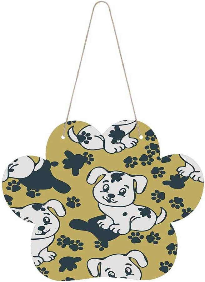InterestPrint Dog Paw Wood Door Hanging Inches 9.84 Outlet sale feature Sign Store 7.87 x