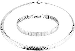 HZMAN Stainless Steel Omega Chain 8mm Solid 18 inch Necklace and 8.5 inch Bracelet Ste