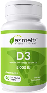 EZ Melts D3 as Cholecalciferol, 5,000 IU, Sublingual Vitamins, Vegetarian, Zero Sugar, Natural Apple Flavor...