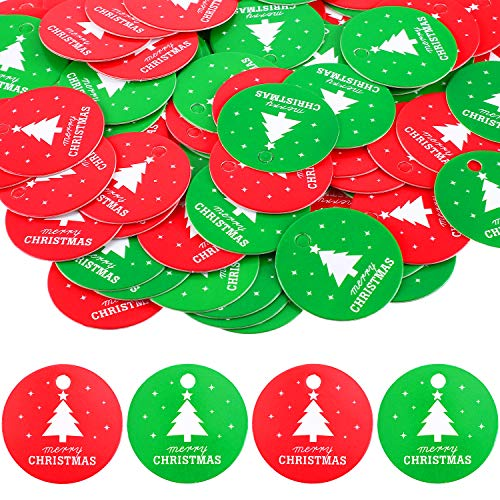 200 Pieces Christmas Gift Tags Paper Hanging Tags Christmas Tree Hanging Pendants DIY Party Decorations with Pre-cut Holes