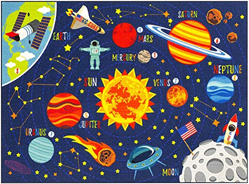 KC Cubs Playtime Collection Outer Space Safari Road Map Educational Learning & Game Area Rug Carpet for Kids and Children Bedrooms and Playroom