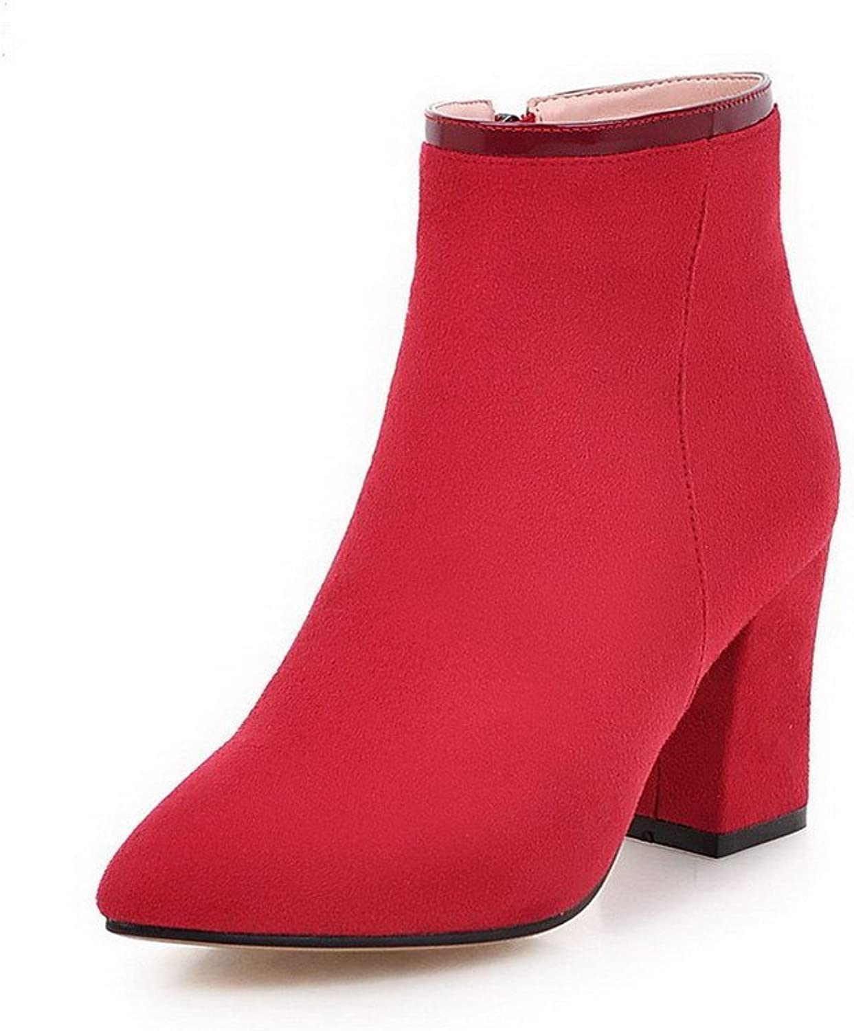 AmoonyFashion Women's Fabric Surface Low-top Solid Zipper High-Heels Boots