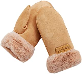 Women's Faux Leather Sherpa Lined Fur Cuff Winter Gloves,Mittens Warm with Neck Long Rope Windproof Mittens