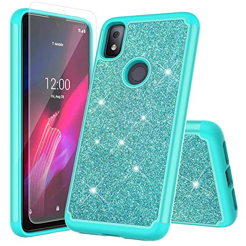 JACKPOT WIRELESS for T-Mobile Revvl 4 Cover Glitter Case with Screen Protector Sparkle Bling Shiny Diamond Rubber Hard Case Bumper Girl Women Protective Case (Teal)
