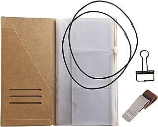Travelers Notebook Accessories Kit - Kraft File Folder, Zipper Case, Pen Holder, Binder Clip and 2 Elastic Bands