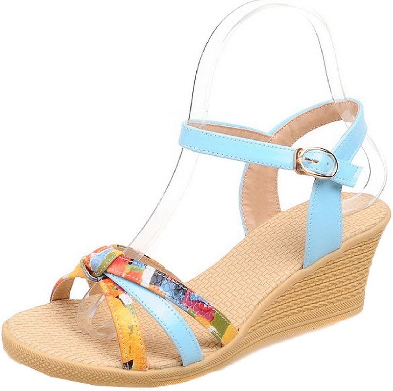 WeiPoot Women's Kitten-Heels Assorted color Buckle Pu Open-Toe Sandals