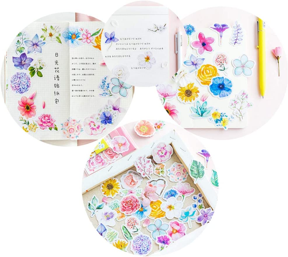 Water Bottle Diary Beyong Journal Scrapbook Pad Planner Beautiful Flowers Stickers Watercolor Potted Plant and Floral Decals 360PCS for Phone Laptop