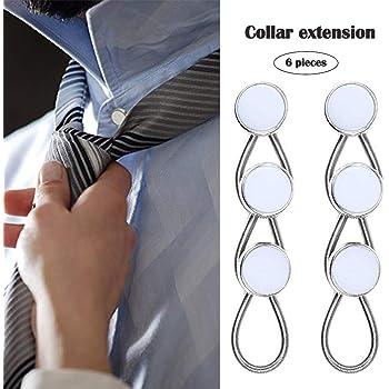 KANGYH Extensor de cuello 6 unidades - Color blanco metal/elástico botón extensores para vestido camisas: Amazon.es: Ropa y accesorios