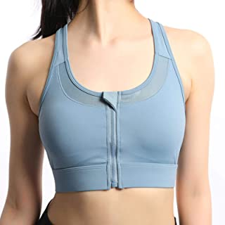 Sports Bra Zipper Sports Bra Gym Running Sports Bra Shockproof Gather Vest Outdoor Training Sports Bra(XXXXXL, Blue)