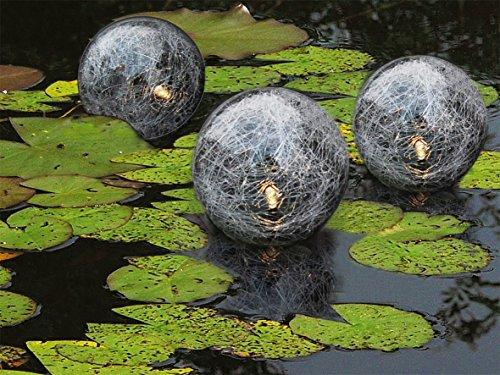 BURI Schwimmende LED Solar Glaskugeln 3er-Set Teichdeko Gartendeko Schwimmkugel