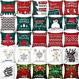 Feliz Navidad Fundas de almohada de tela Cojín de sofá Decoración navideña del hogar Natale 2020 Adornos navideños Decoración de Nochevieja (Patrón aleatorio)